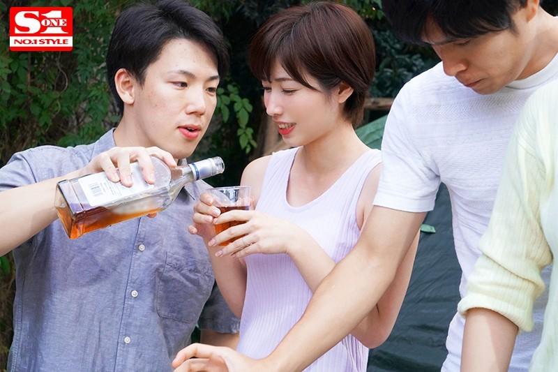 【捕鱼王】奥田咲SSNI-690 人妻露营酒后认错老公被男同事围攻